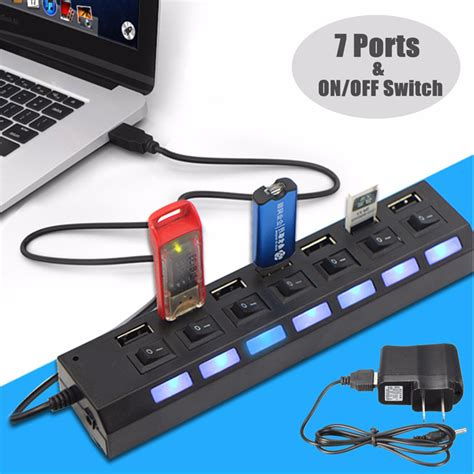 Usb Hub 7 Port 2 0 High Speed With Switch On 7 port high speed usb 2 0 hub ac power adapter on switch vfr zarmokart