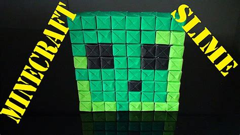 Origami Slime - minecraft slime pixel origami paper craft minecraft
