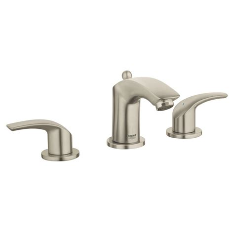 grohe bathroom sink faucets grohe eurosmart 8 in widespread 2 handle 1 2 gpm bathroom faucet in brushed nickel