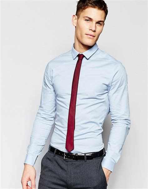 what color tie with light blue shirt asos asos shirt in light blue with burgundy tie