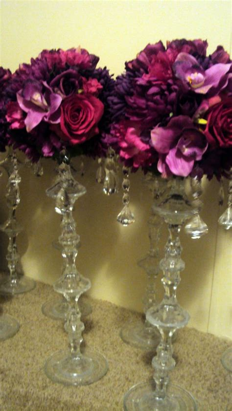 Deep Purples Add In Some Gold Dollar Store Candle Holders Dollar Store Wedding Centerpieces