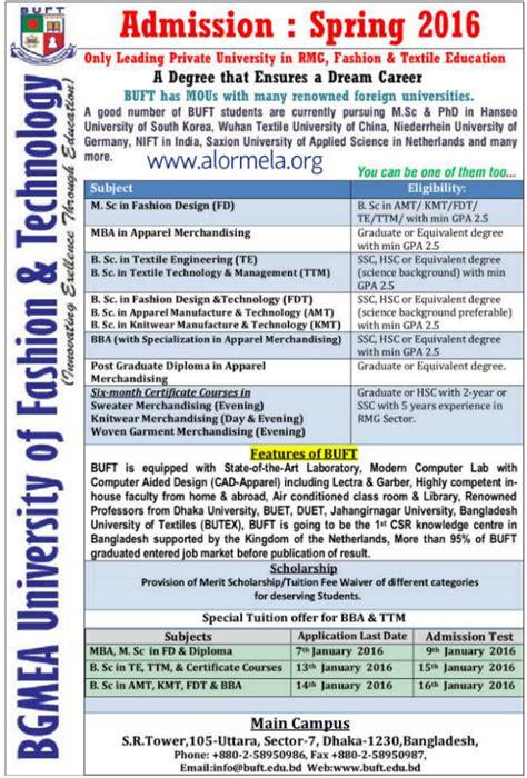 Ju Mba Admission Circular 2016 by Bgmea Of Fashion Technology Admission Circular