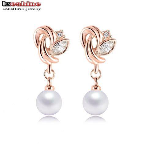 Anting Tusuk Pearl aliexpress beli lzeshine perhiasan merek fashion anting mutiara gold plate elemen