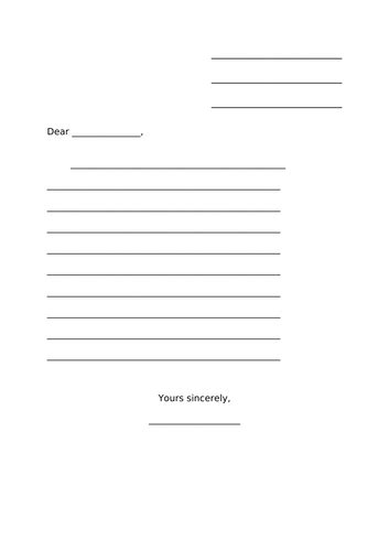 ks letter template lined teaching resources