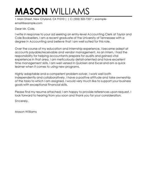 Clerk Cover Letter by Best Accounting Clerk Cover Letter Exles Finance Contemporary Accounting Clerk Cover Letter