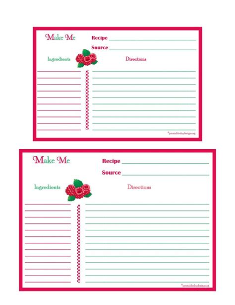 17 best images about printable recipe cards on pinterest