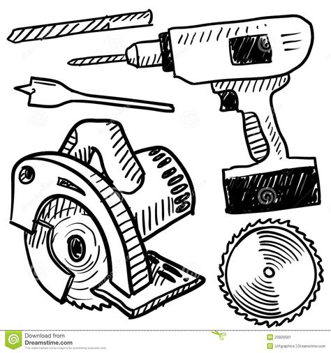 doodle tool free power tools sketch stock image image 23920501