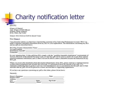 charity legacy letter ira charitable rollover qcd strategy and options ppt