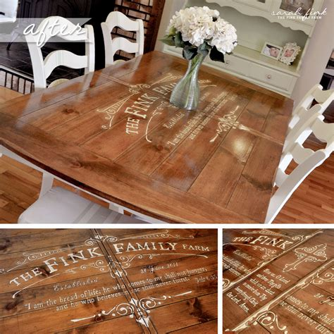 Gathering for dinner around a custom stenciled dining room table fink family farm