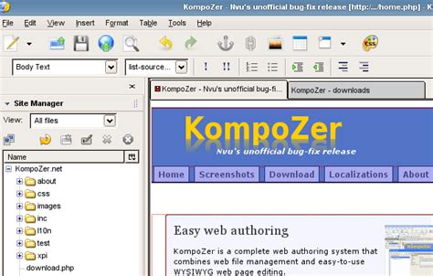 kompozer web design html editor five free web authoring and design tools techrepublic