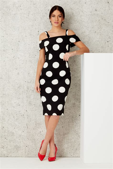 Polka Dress polka dot bardot dress in black originals uk