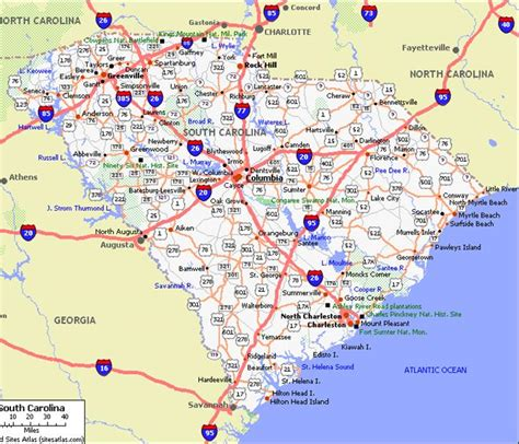 map of carolina coast map of south carolina coastal towns pictures to pin on pinsdaddy