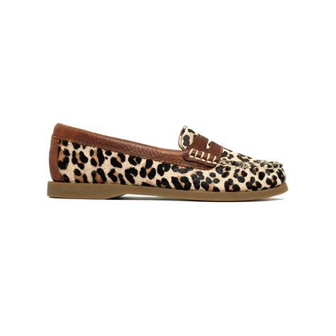 leopard loafer flats sperry top sider hayden loafer flats in brown lyst