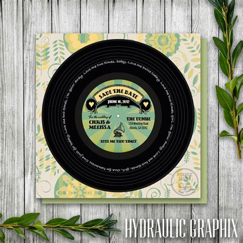 printable record invitations vinyl record printable save the date for by hydraulicgraphix