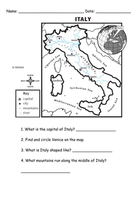 Italian Worksheets italy worksheet by us lessons tes