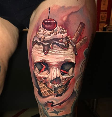 ice cream skull best tattoo design ideas