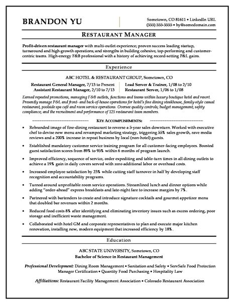 restaurant manager resume sles restaurant manager resume sle