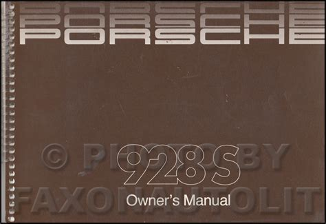 1986 porsche 928 s owner s manual original
