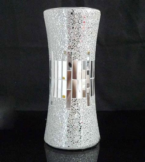 Discount Floral Vases by Handicraft Silver Decorative Cheap Mirror Flower Glass Mosaic Vases Buy Mosaic Vase Glass