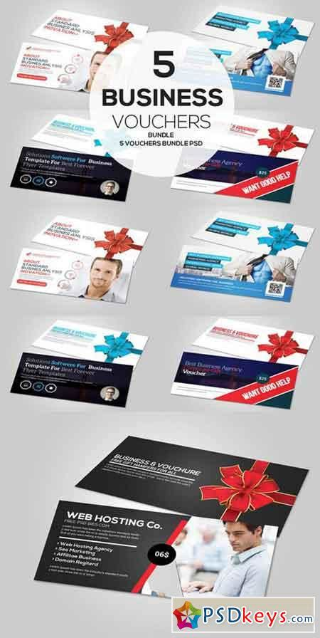 Gift Card Bundles - 5 business gift card vouchers bundle 618456 187 free download photoshop vector stock