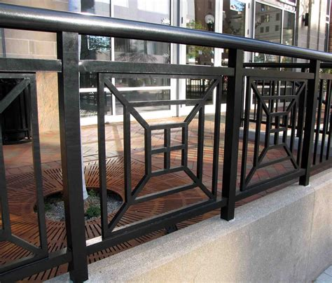 outside banister railings decorative perforated metal modern stair railing