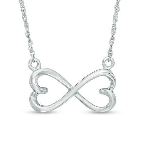 sideways shaped infinity necklace in 10k white gold