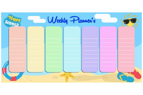 cute vector weekly planner template graphic  iopmicro