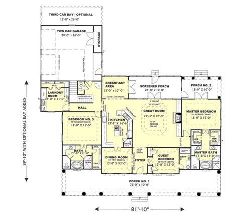 one story southern house plans southern style house plans 2775 square foot home 1