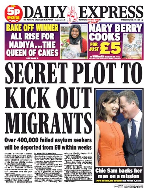 Daily Uk Front Page For 14 October 2015 Paperboy daily express uk front page for 8 october 2015