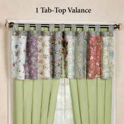 Tab Curtains Pattern Blooming Prairie Tab Top Valance And Curtains