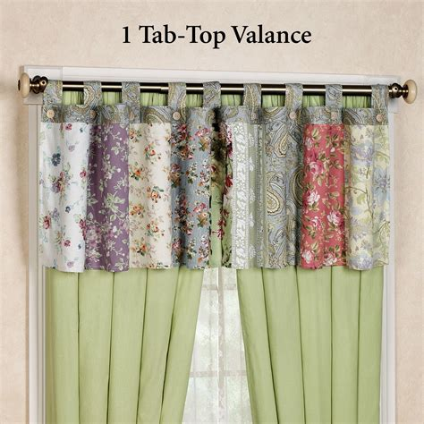 tab curtains pattern blooming prairie tab top valance or curtains