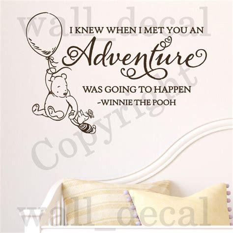 classic winnie the pooh wall stickers i knew when i met you adventure wall decal vinyl sticker classic winnie the pooh ebay