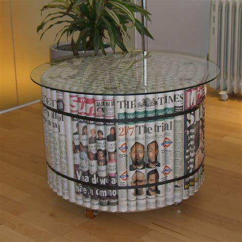 Diy Tables by Cool Diy Furniture Made From Newspapers Desired Home