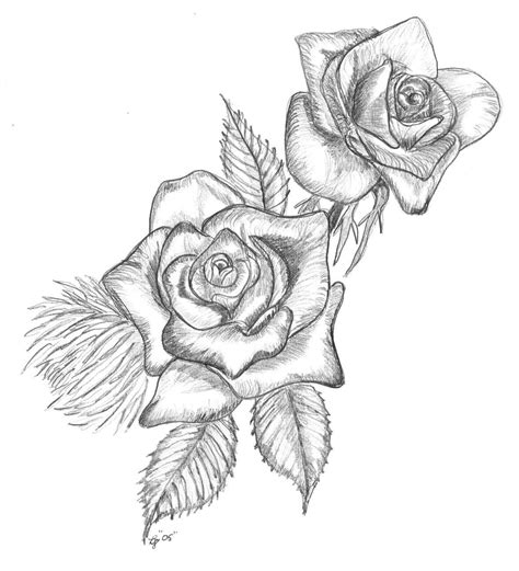 two roses tattoo knumathise realistic black and white drawing images