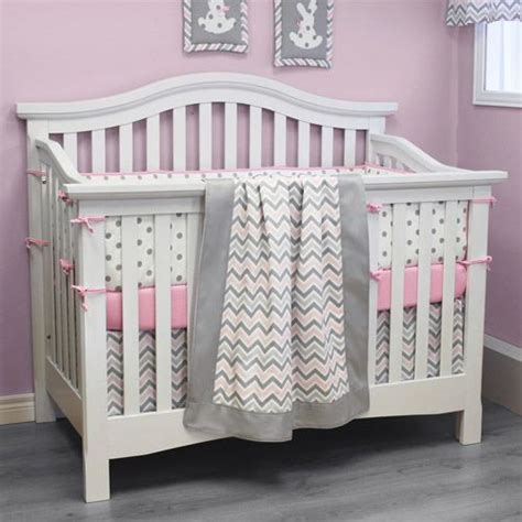 Pink And Gray Chevron Crib Bedding by Pink And Gray Chevron Bedding With White Crib Nursery