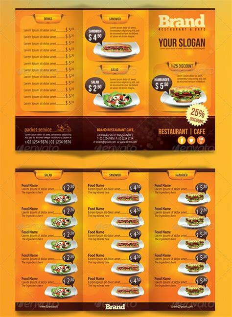 Menu Brochure Template Free by Restaurant Brochure Templates 40 Beautiful Restaurant Menu