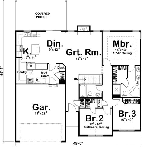 simple single story home plan 62492dj architectural