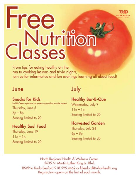 free nutrition classes in june and july at nrhwc tulsa