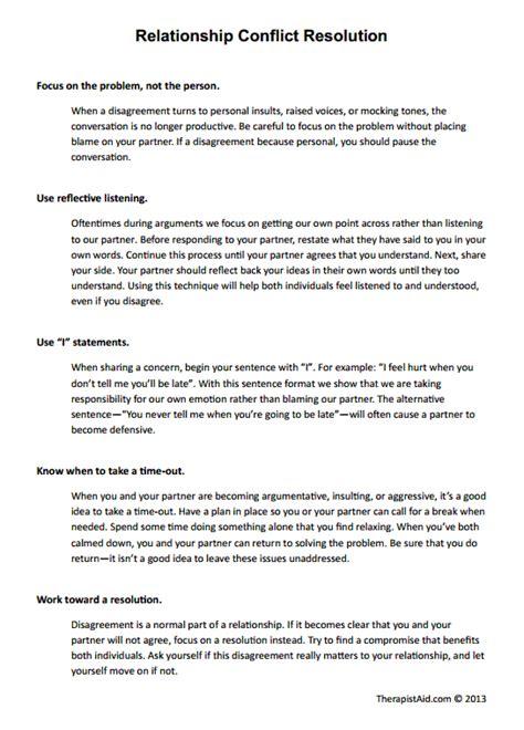 Reflective Essay Conflict Management by Relationship Conflict Resolution Worksheet Psychology