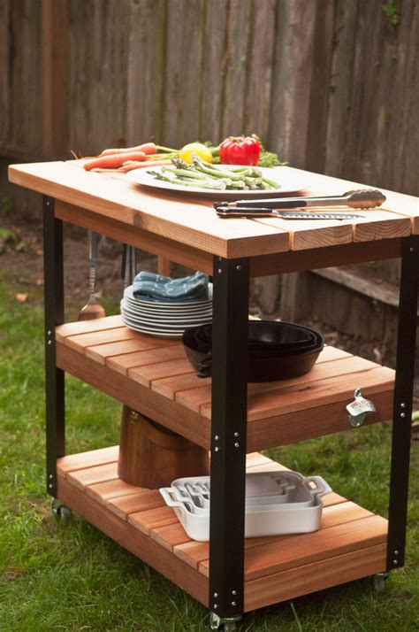 diy outdoor food prep how to make a diy rolling grill cart and bbq prep station