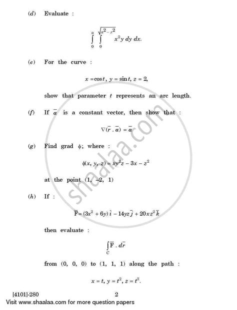Mathematics Gp Essay by Question Paper Applied Mathematics General Paper 2 Calculus Of Several Variables And Vector