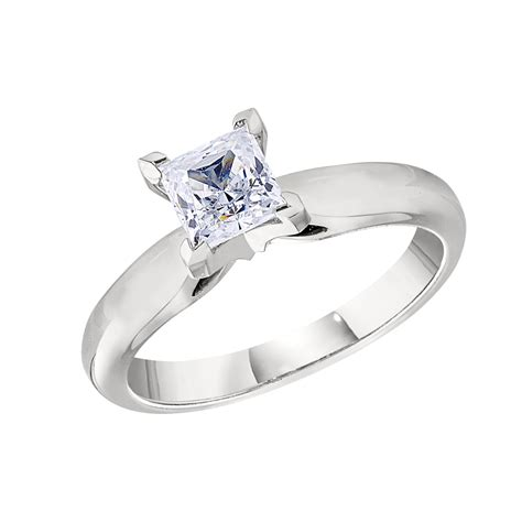 classic solitaire princess cut engagement ring settings