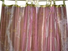 Pink Sheer Curtains 2 Embroidered Sari Drapes Pink Organza Sheer Curtains Panel 92 Quot Ebay