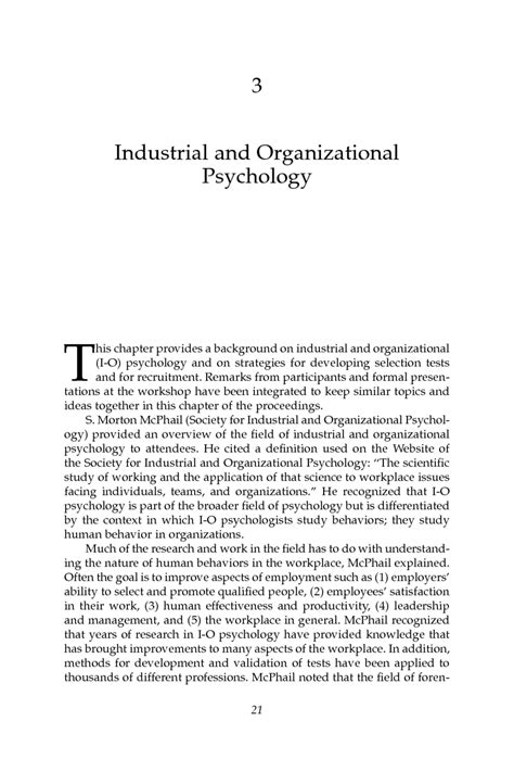 the pattern of organization of the above selection is 3 industrial and organizational psychology personnel