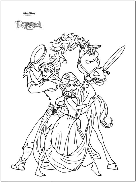 Free Coloring Pages Of Rapunzel Full Tower Rapunzel And Flynn Coloring Pages