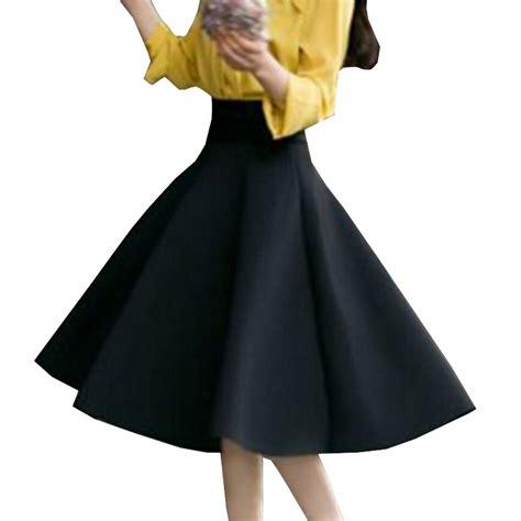 Pleated Flare Maxi Skirt Rok Fit To Big Size high waist pleat skirt green black white knee length flared skirts fashion faldas