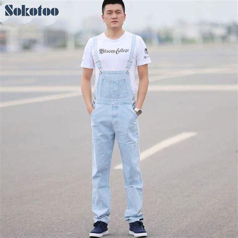 light blue denim overalls aliexpress com buy sokotoo men s light blue white denim