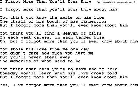 song i you dolly parton song i forgot more than you ll lyrics