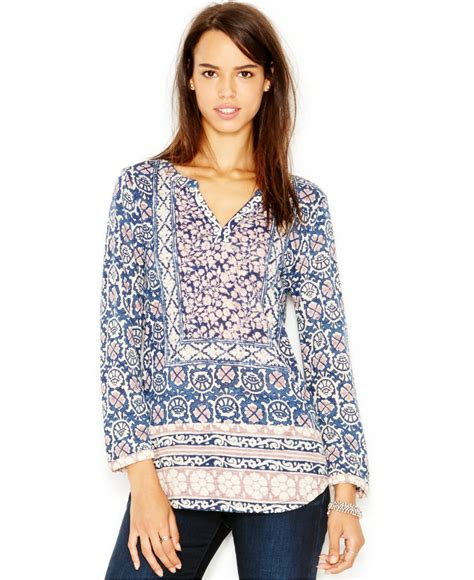 Lucky Brand Print Purple lucky brand mixed print top in multicolor purple multi save 20 lyst