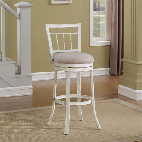 Antique White Swivel Counter Stools by American Woodcrafters Palazzo 26 In Antique White Swivel